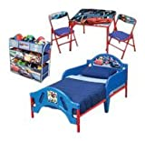 Disney Cars 3Pc Room Set - Includes Toddler Bed, Metal Multi Bin & Folding Table & Chairs