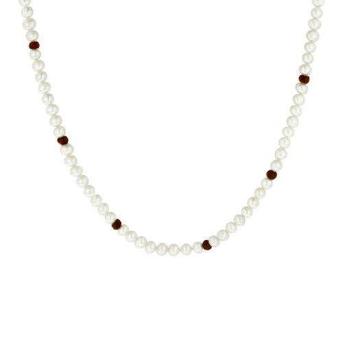 Faceted Garnet Rendell White Freshwater Cultured Pearl Endless Necklace, 36
