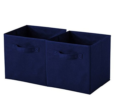 ASSIS Foldable Cloth Storage Cube Basket Bins Organizer Containers  Drawers Fabric Storage Boxes With Dual Handles And Collapsible Design (2  Baskets,Navy ...