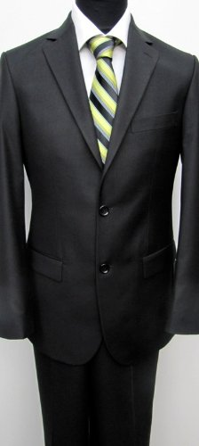 MUGA mens Suit elegant, Slim-line, 2-vents , Black, size 48L (EU 110)