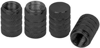 4 Piece Anodized Aluminum Valve Caps Set, Black (Car Tire Valve Caps Black compare prices)