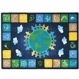 Joy Carpets Kid Essentials Geography & Environment One World Rug, Neutrals, 5\'4\