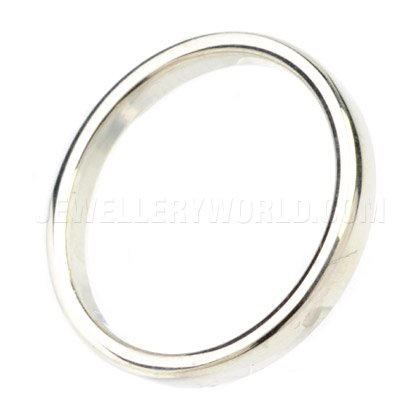 3mm 9ct White Gold Soft Court Wedding Ring
