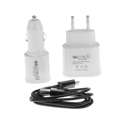 Yyt- 2.0 White Mini Usb Car Charger + White Double Usb Plug The Ac Power Adapter In The European Union