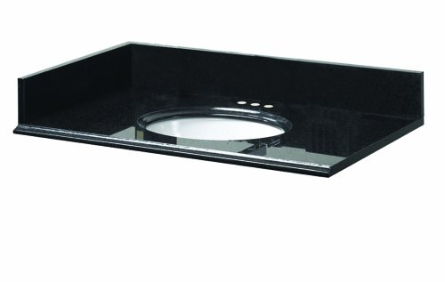 Pegasus 16888 31-Inch by 22-Inch Solid Granite Vanity Top, Midnight Black