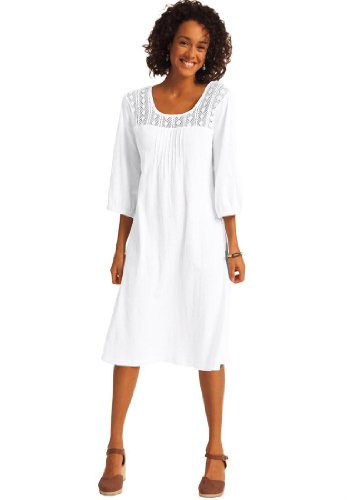 Dress Cotton Gauze Crochet White