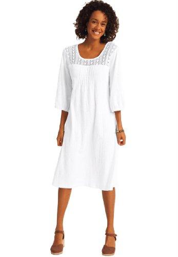Dress Cotton Gauze Crochet White