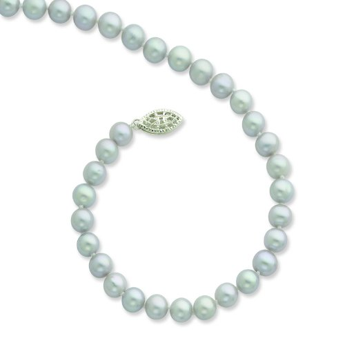 Silver 6-7mm Grey Freshwater Cultured Pearl Necklace. 24in long Necklace.