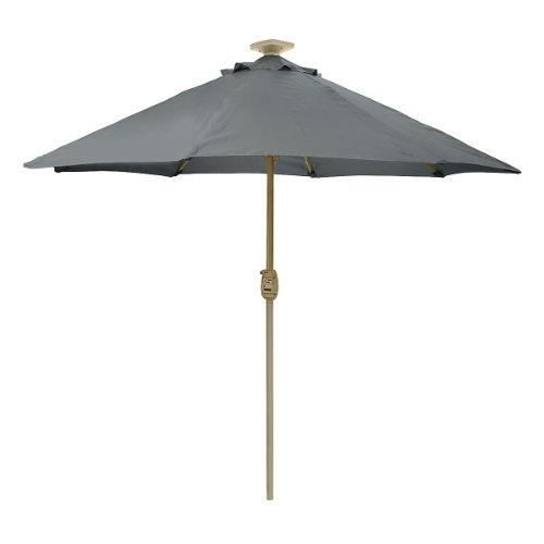 Spectacular  Detail shop SUNergy u LED Solar Lighted Auto Lift Outdoor Patio Umbrella Gray