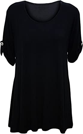 Womens Plus Size Scoop Neck Short Sleeve Flared Ladies Long Plain Top - Black - 14