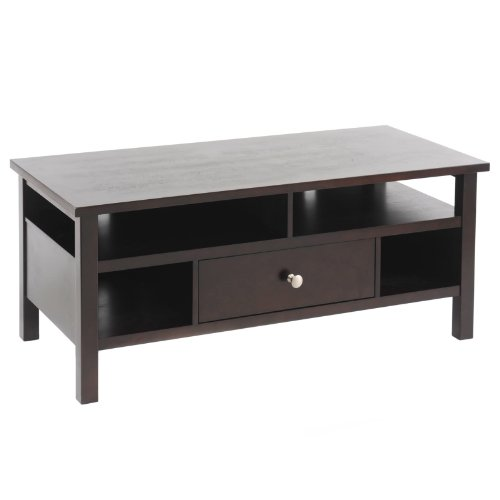 Cheap Bay Shore Collection Flat Screen/Tube TV Stand with Drawer, Espresso (F68310-02)