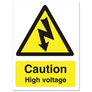 "Stewart Superior Schild ""Caution High voltage"" selbstklebend PVC 150 x 200 mm"
