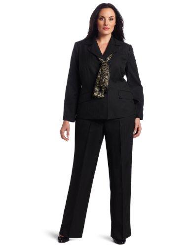 Lesuit Women's Plus-Size Pindot Stripe Pant Suit