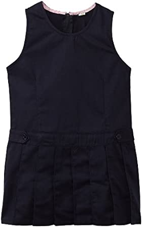 U.S. Polo School Uniform Girls 7-16 Twill Jumper with Pleated Bottom, Navy, 7