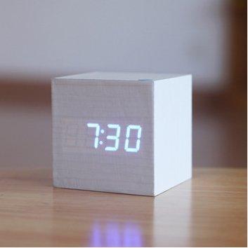 Smileto® Digital Square Fashion Cube Mini Alarm Clock with Time and Temperature Display & Sound Control(White case Blue light)