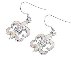 Sterling Silver Pink Opal Fleur De Lis Dangling Earrings