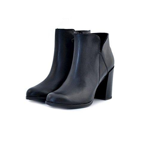 Stivali alla caviglia tronchetti Soldini donna numero 38 19709NERO in pelle nero tacco, woman boots shoes black leather