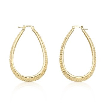 14k Gold Bonded Textured Oval Hooplet Earrings with Lever Backing in Goldtone