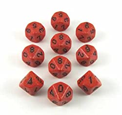 Fire Speckled 10 Sided Dice Set of 10
