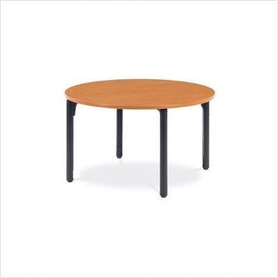 "Round Plateau Table - 27"" High Table Color: Medium Oak, Frame Color: Silver Mist"