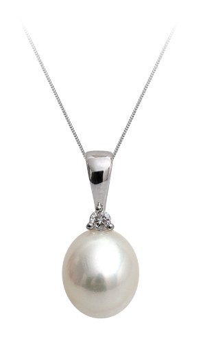 9ct White Gold Diamond Freshwater Pearl Drop Pendants