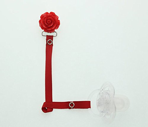 Flower Ribbon Pacifier Clip (Red)