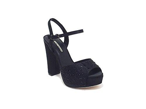 Luciano Barachini scarpa donna, modello sandalo gioiello 6256, in raso,colore nero