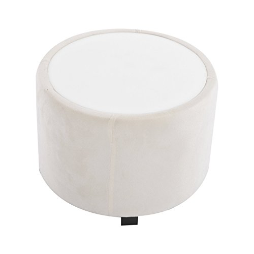 HomCom Plush Tub / Barrel Club Arm Seat Chair and Ottoman Set - Cream White