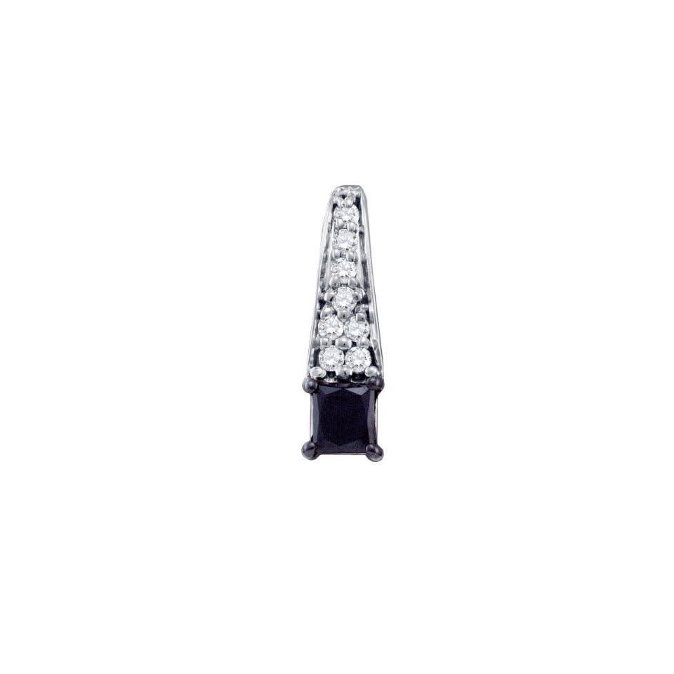 10K White Gold Prong Set Black Princess Cut and White Round Diamonds Charm Pendant (0.50 cttw G   H Color I1   I2)