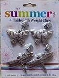 4 Tablecloth Weight Clips Butterflies & Dragonflies Weights