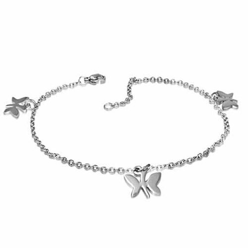 Sexy Polished Butterfly Anklet Ankle Bracelet Stainless Steel