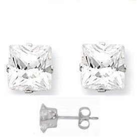 Sterling Silver .925 Cubic Zirconia Princess Cut Stud Earrings 1.00 Ct 4.00mm