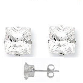 Sterling Silver .925 Cubic Zirconia Princess Cut Stud Earrings 1/2 Ct 3.00mm