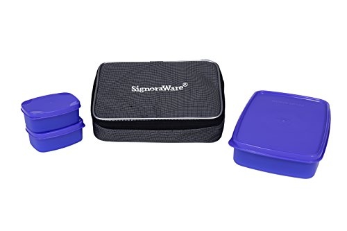 Signoraware Compact Lunch Box with Bag, Violet
