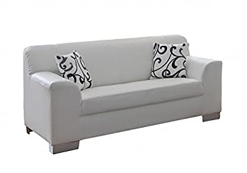 Siegen White Faux Leather 2Seater Sofa