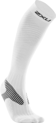 2XU 2XU Men's Elite Compression Performance Sock (White/Grey, Large)