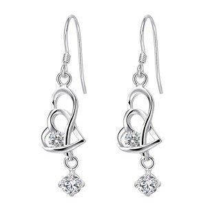 Rhodium Plated Silver Diamond Accent CZ Drop Love Heart Earrings