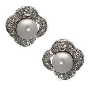 BLAIR Silver Tone Pearl Crystal Clip On Earrings