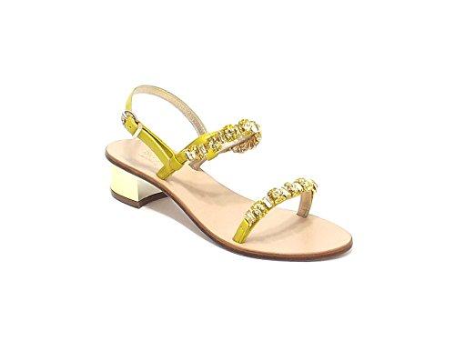 Capri Bijoux donna, modello amalfi, sandalo in pelle con strass ,colore giallo