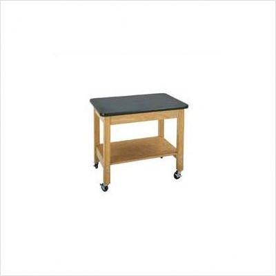 """Diversified Woodcrafts 4501K Solid Oak Wood Mobile Demo Cart with Plywood Shelf, Plastic Laminate Top, 36"""" Width x 30"""" Height x 24"""" Depth"""