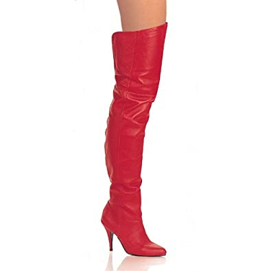 4 Inch Cute Pull On Thigh Boot With Elasticated Gusset Red Leather High Heel Boot