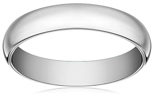 Women'S 18K White Gold 4Mm Comfort Fit Plain Wedding Band, Size 6.5