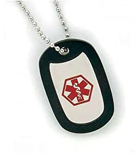 Medical Alert Stainless Steel ID Dog Tag Necklace ~Diabetes