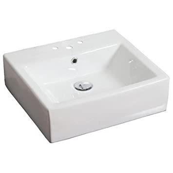 "Above Counter Rectangle Vessel Bathroom Sink Faucet Mount: 8"" Off Center, Hardware Finish: Gold"