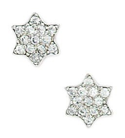 14ct White Gold CZ Medium Star Fancy Post Earrings - Measures 8x10mm