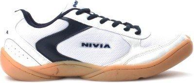 Nivia Badminton Flash Shoes, Men's UK 8 (White/Blue)