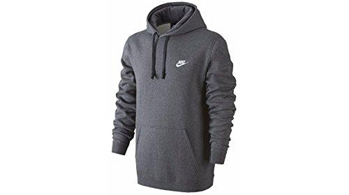 Nike Mens Sportswear Pull Over Club Hooded Sweatshirt Charcoal Heather/White 804346-071 Size Medium