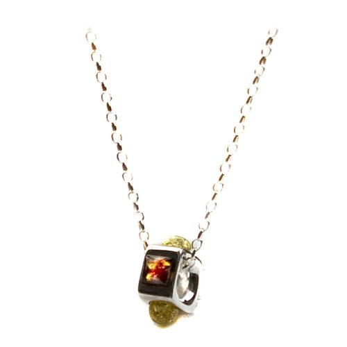 Sterling Silver Multi-Color Amber Charm Pendant Necklace , 18