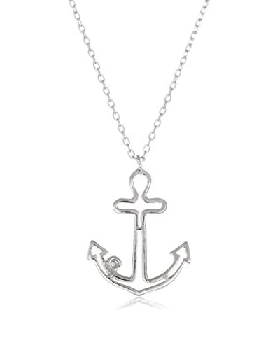 Bliss 18K White Gold-Plated Swarovski Elements Open Anchor Necklace
