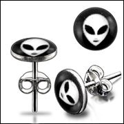 Alien Logo Silver Earring Body Piercing Jewelry